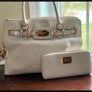 Michael Kors Large White Leather Purse with Wallet
